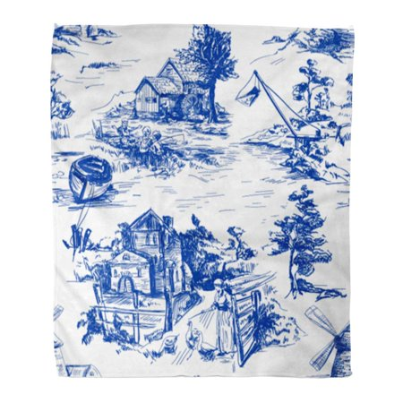 SIDONKU Throw Blanket Warm Cozy Print Flannel Classic Pattern Old Town Village Scenes of Fishing in Toile De Jouy White Comfortable Soft for Bed Sofa and Couch 50x60 -