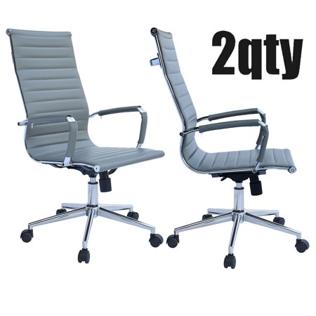 Astonishing 2Xhome Set Of 2 Gray Mid Century Modern High Back Ribbed Pu Leather Tilt Adjustable Ergonomic Office Chair With Padded Arms Arm Rest Wheels Desk Task Unemploymentrelief Wooden Chair Designs For Living Room Unemploymentrelieforg