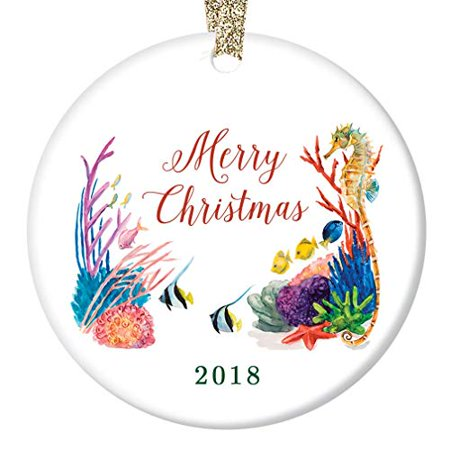fb2c7143816 Under The Sea Ornament 2018, Merry Christmas Porcelain Ceramic Ornament,  Tropical Coral 3