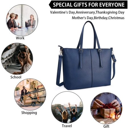 Laptop Bag for Women 15.6 Inch Tote Bags Waterproof Lightweight Leather Computer Laptop Totes Women Business Office - image 3 of 5
