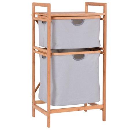 Costway 2 Drawer Bamboo Shelf Dresser Sliding Cloth Fabric Storage Bins Chest Drawers (Bamboo Dresser)