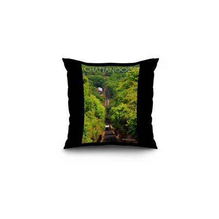 Chattanooga, Tennessee - Incline Railway on Lookout Mountain - Lantern Press Photography (16x16 Spun Polyester Pillow, Black Border)