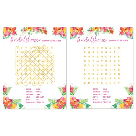 Tropical Floral Garden Party Wedding, Word Search Bridal Shower Game Cards, 20-Pack
