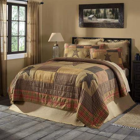 Dark Khaki Tan Primitive Bedding Sutton Cotton Pre-Washed Appliqued Star Luxury King Quilt for $<!---->