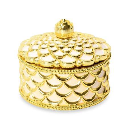 Gold Petal Textured Circle Shape Trinket Box with Velvet Scratch Protection Floral Gold Trinket Box