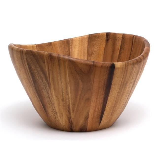 Lipper International 1174-2 Acacia Large Wave Bowl with Servers