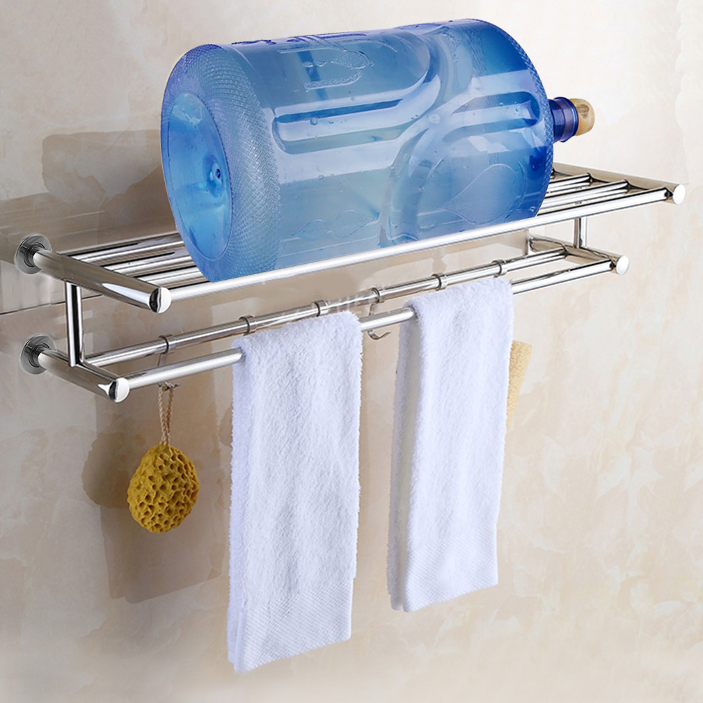 Stainless Steel Towel Rack Stand for Bathroom with Shelf Wall Mounted Towel Bar Towel... by
