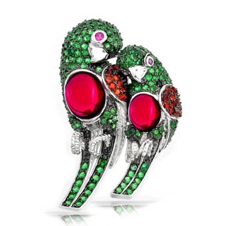 Parrot Silver Plated (Multi Color Cubic Zirconia CZ Lovebirds Parrot Brooch Pin For Women Silver Plated)