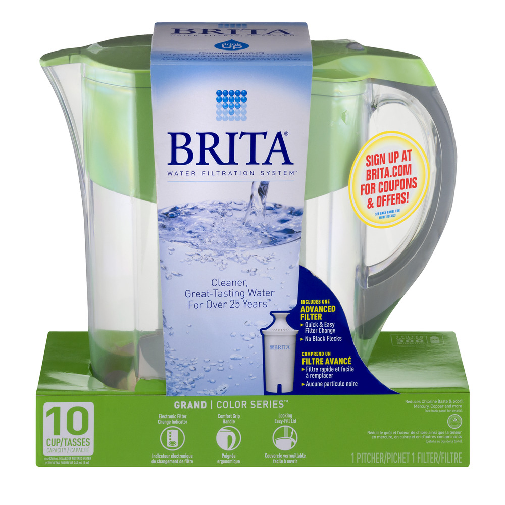 Brita Water Filtration System Grand Color Series 10 Cup Pitcher, 1.0 CT