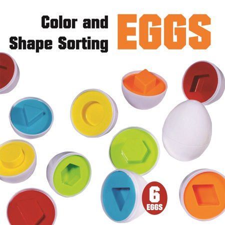 Playkidz, Color and Shape Matching Egg Set of 6, Educational Color & Shapes Recognition and Shape Sorting Skills Learning Toy for Toddlers and Kids. (Children Shapes)