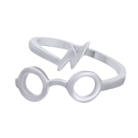 Harry Potter Glasses Lightening Bolt Open Ring In 14K White Gold Over Sterling Silver