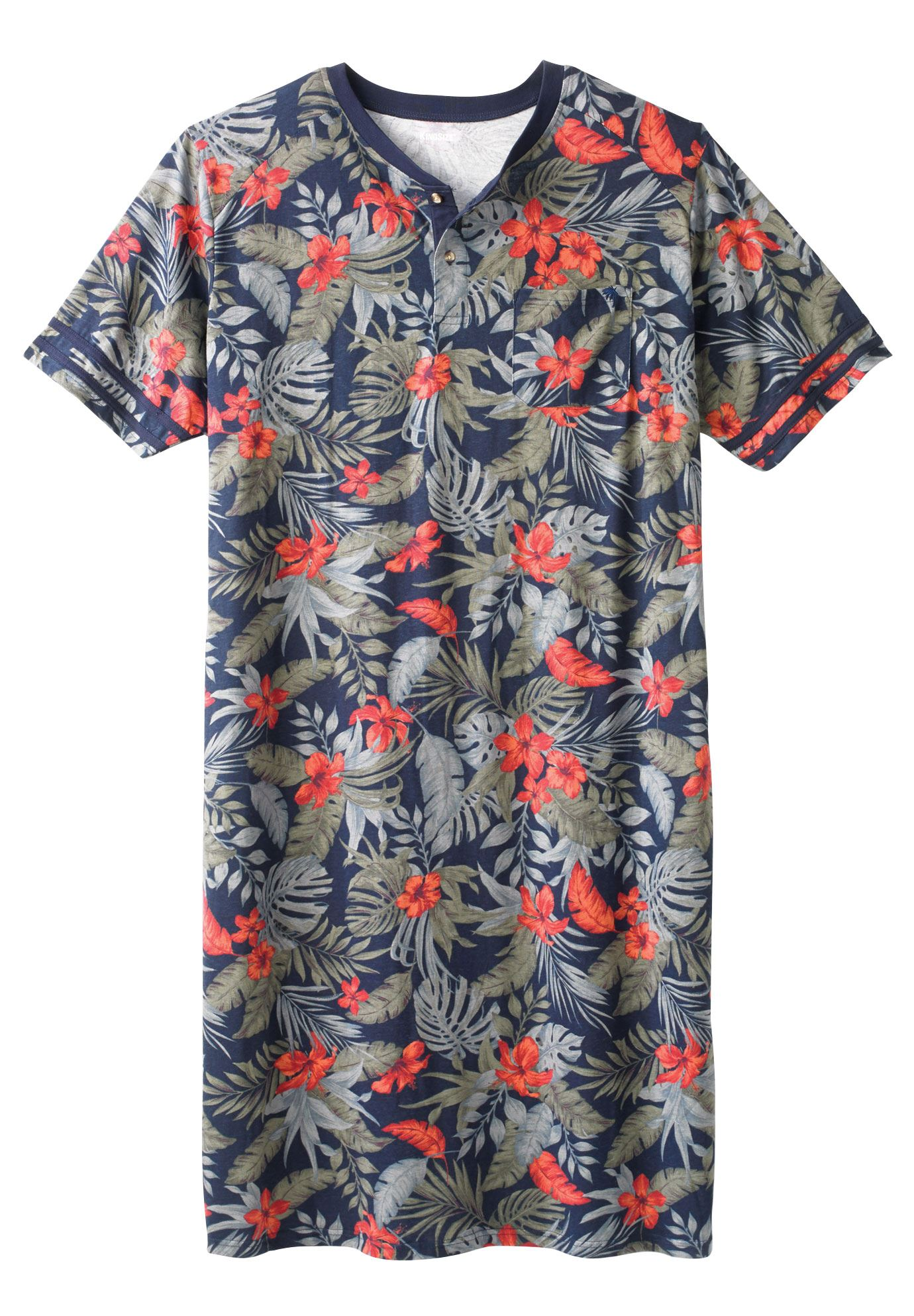 Ks Island Men's Big & Tall Henley Nightshirt