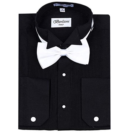 Berlioni Men's Tuxedo Wing Tip Dress Shirt With Bowtie In Black And White Concept Sports Detroit Red Wings