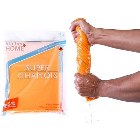 Kitchen + Home Super Chamois - Extra Large 20 X 27 Super Absorbent Cleaning Cloth - 6 Pack Orange (SC-121)