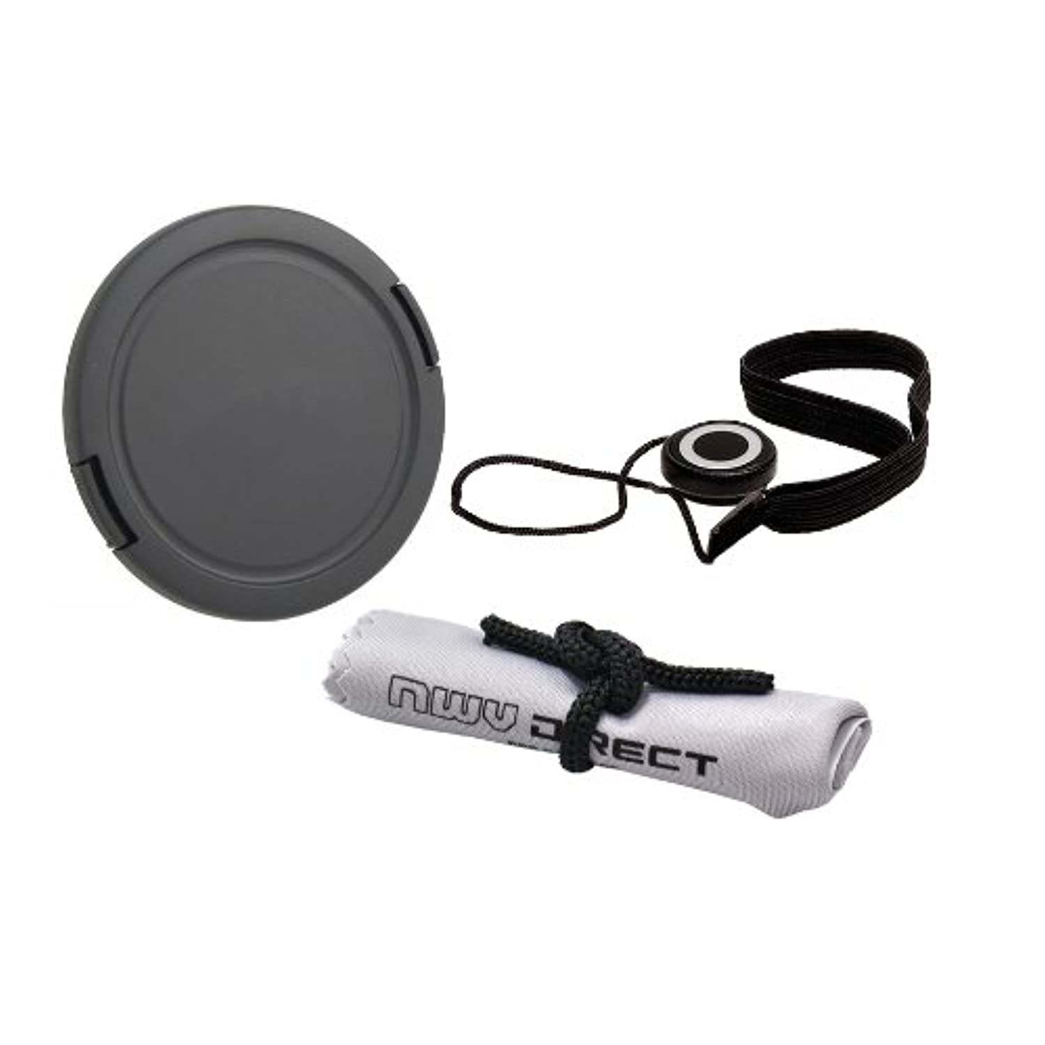 72mm Lens Cap Side Pinch + Lens Cap Holder Nwv Direct Microfiber Cleaning Cloth for Canon EOS Rebel T1i