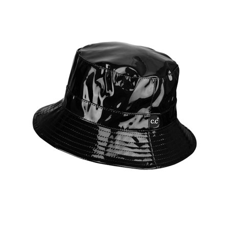C.C Women's All Season Foldable Waterproof Rain Bucket Hat, Black ()