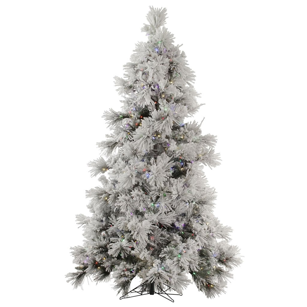 "Vickerman 32409 - 7.5' x 60"" Flocked Pocono Pine 650 Multi-Color Italian LED Lights Christmas Tree (A142477LED)"