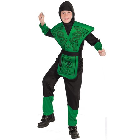 Green & Black Dragon Ninja Mortal Kombat Reptile Warrior Boys - Boys Dragon Costume