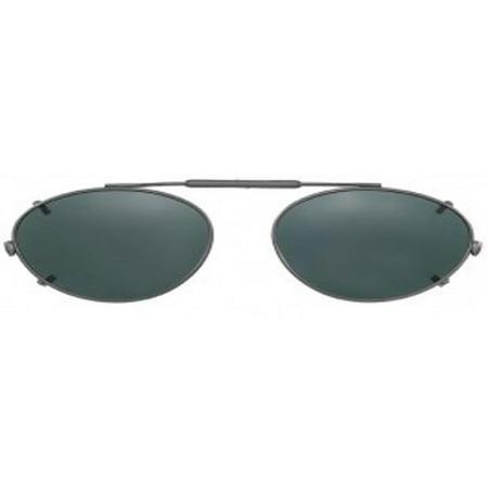 Visionaries Polarized Clip on Sunglasses - Almond - Gun Frame - 47 x 34 Eye