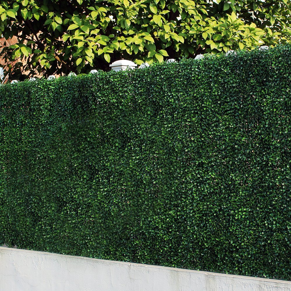 ULAND Artificial Boxwood Hedges Panels, Decorative Privacy Fence Screening, UV proof, 100% Fresh PE, Garden Wall Decoration, 20''x20''/pc A001 (12, Green Jade)