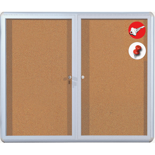 Mastervision Cork Display Case Wall Mounted Bulletin Board