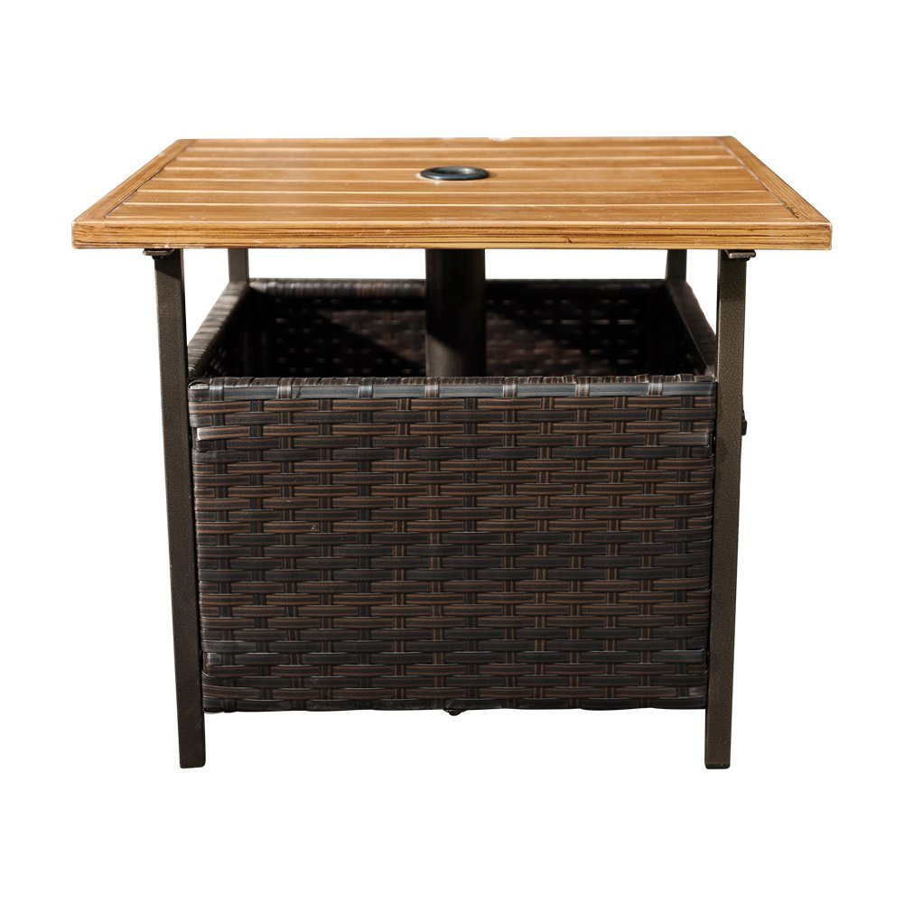 SunLife Rattan Outdoor Chat Table With Umbrella Hole