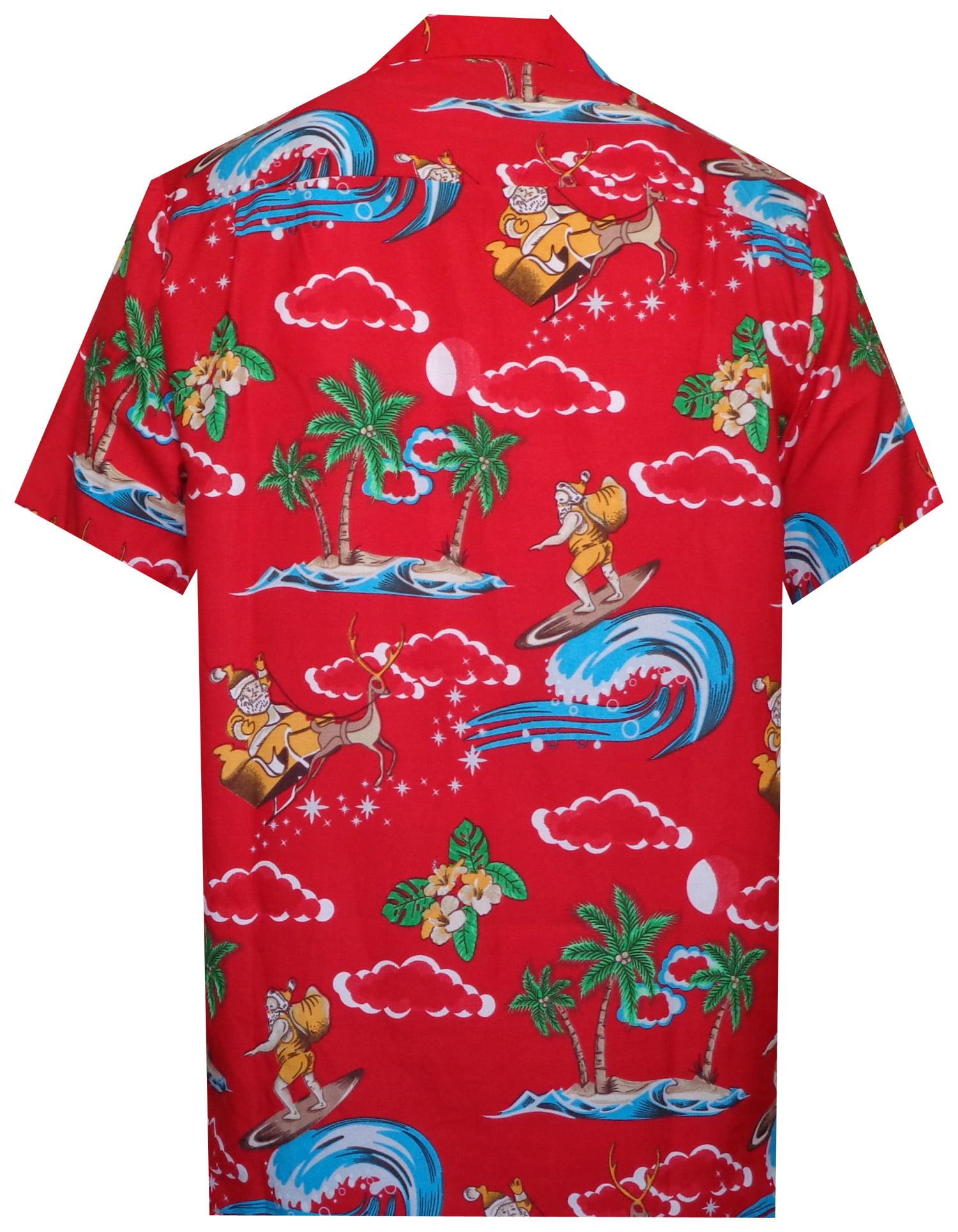 7004062f3 Holiday - Hawaiian Shirt 41 Mens Christmas Santa Claus Party Aloha Holiday Red  2XL - Walmart.com