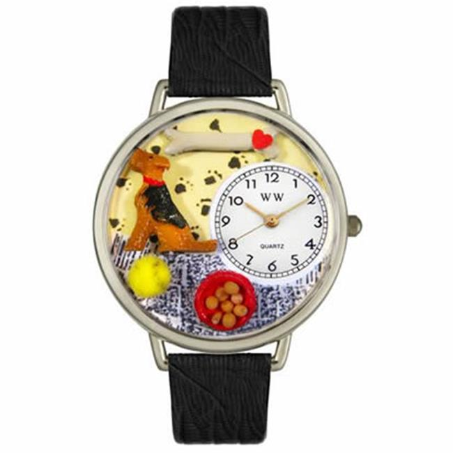 Whimsical Gifts U-0130079 Airedale Terrier Watch In Silver Large