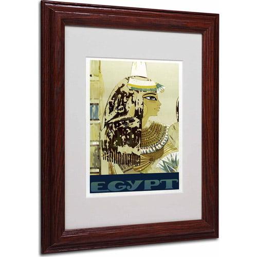"""Trademark Fine Art """"Visit Egypt Cleopatra"""" Matted Framed Art by Vintage Apple Collection, Wood Frame"""