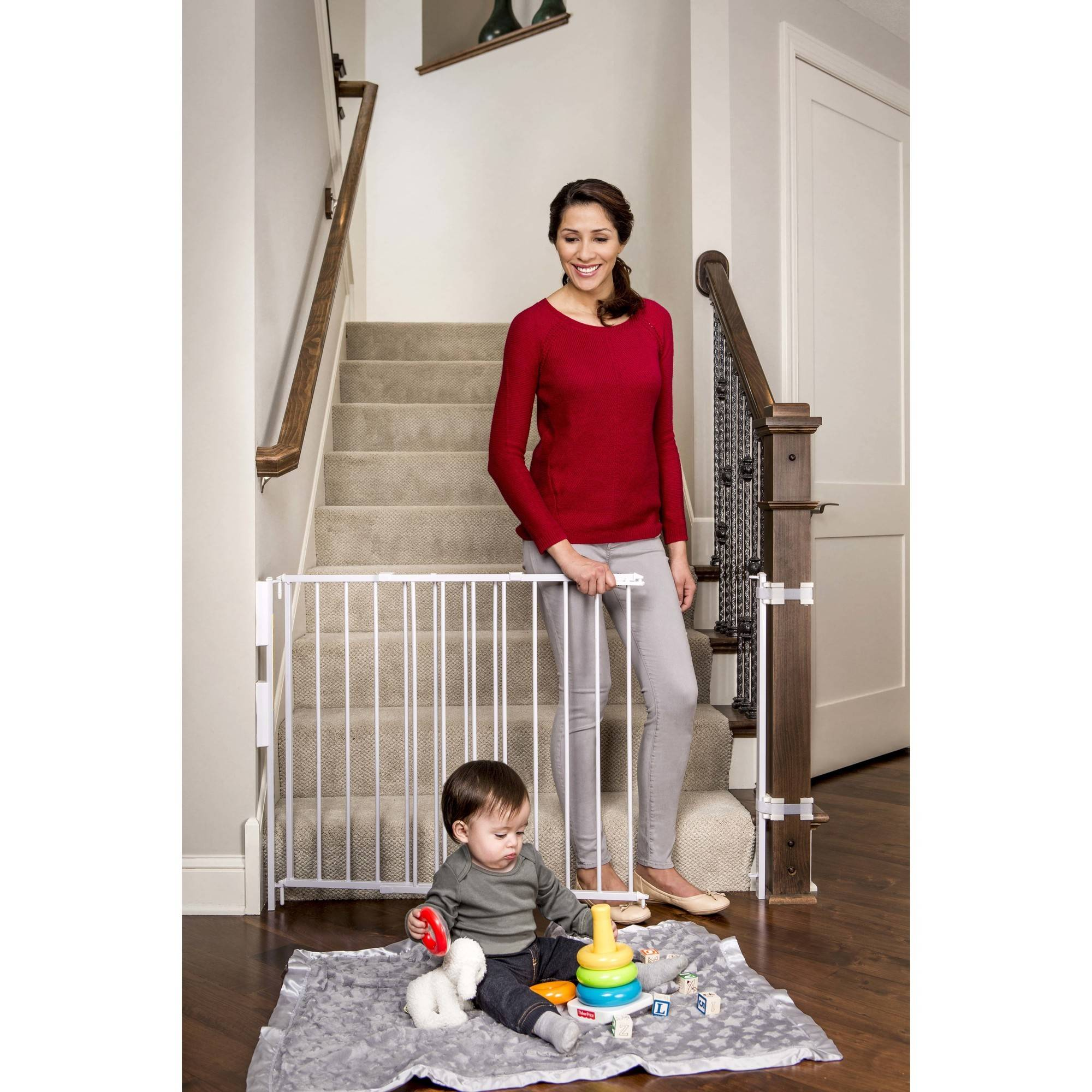 Regalo Extra Tall Stairway Baby Gate 27 54 With Swing Door