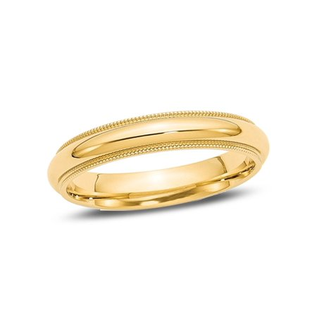Ladies 14K Yellow Gold 4mm Comfort Fit Milgrain Wedding Band - image 4 de 4