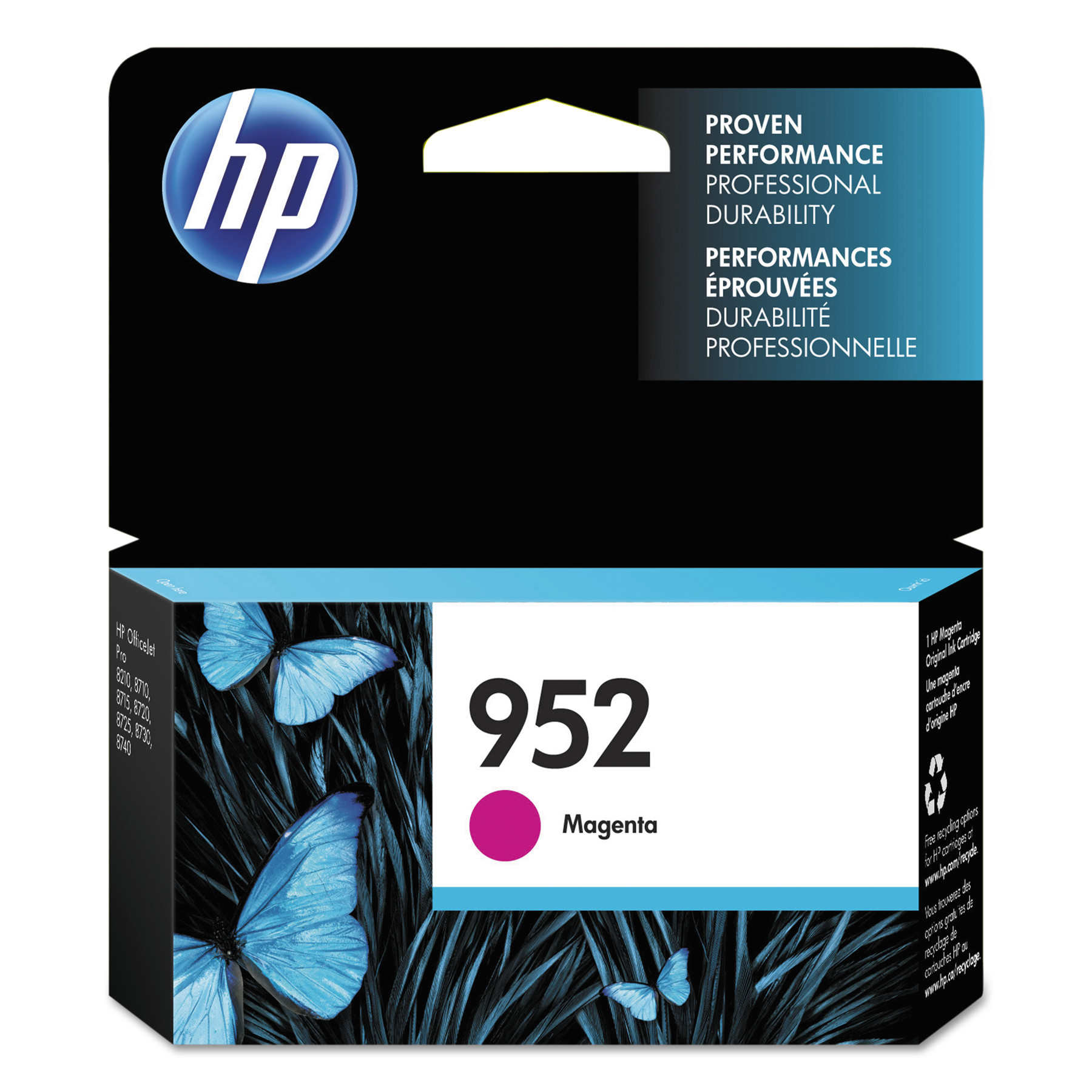 HP 952 Cyan, Magenta & Yellow ink cartridges, 3-pack (N9K27AN)