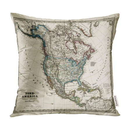 ECCOT Old 1872 Antique Map of North America Stieler Dark Vintage Pillow Case Pillow Cover 16x16 inch