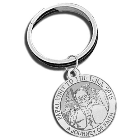 Embossed Keychain - Pope Francis - Papal Visit Washington D.C. 2015 Religious Engravable Embossed Keychain 1 Inch X 1 Inch Round - Gold Plated