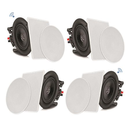 PYLE PDICBT266 - 6.5'' Bluetooth Ceiling / Wall Speaker Kit, (4) Flush Mount 2-Way Home Speakers, 200 Watt (4 - Ceiling Speaker Mounting Kit