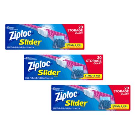 (3 pack) Ziploc Slider Storage Bags, Quart, 20 Count