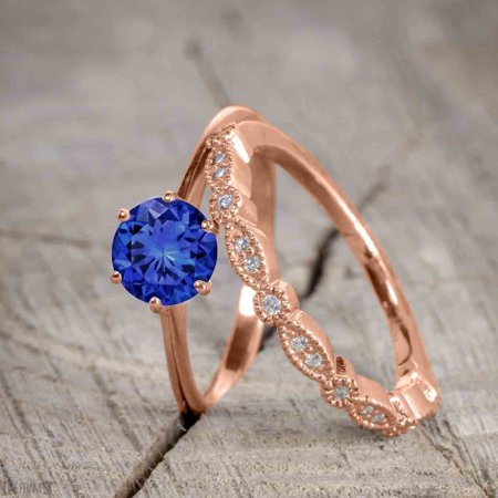 Antique Art Deco 1.25 Round Cut Sapphire and Diamond Wedding Ring Set in Rose Gold Antique Art Deco Ring