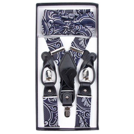 Men's Paisley 3 PC Convertible Suspenders, Diamond Tip Bow Tie, Hanky - Yellow Bow Tie And Suspenders