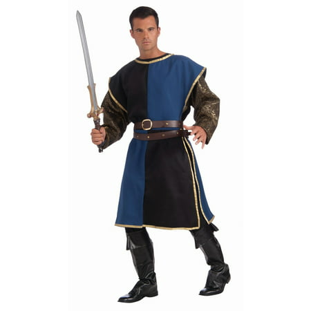 Halloween Medieval Tabard - Blue/Black Adult Costume - Black Man Halloween Costumes
