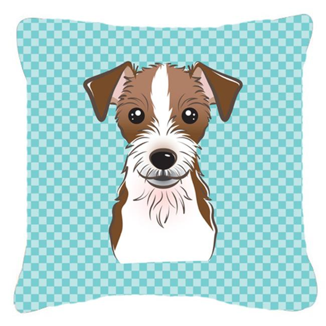 Carolines Treasures BB1140PW1818 Checkerboard Blue Jack Russell Terrier Fabric Decorative Pillow, 18 x 18 In. - image 1 de 1
