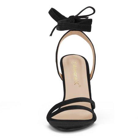 Women's Open Toe High Heel Lace Up Sandals Black US 10 - image 5 de 7
