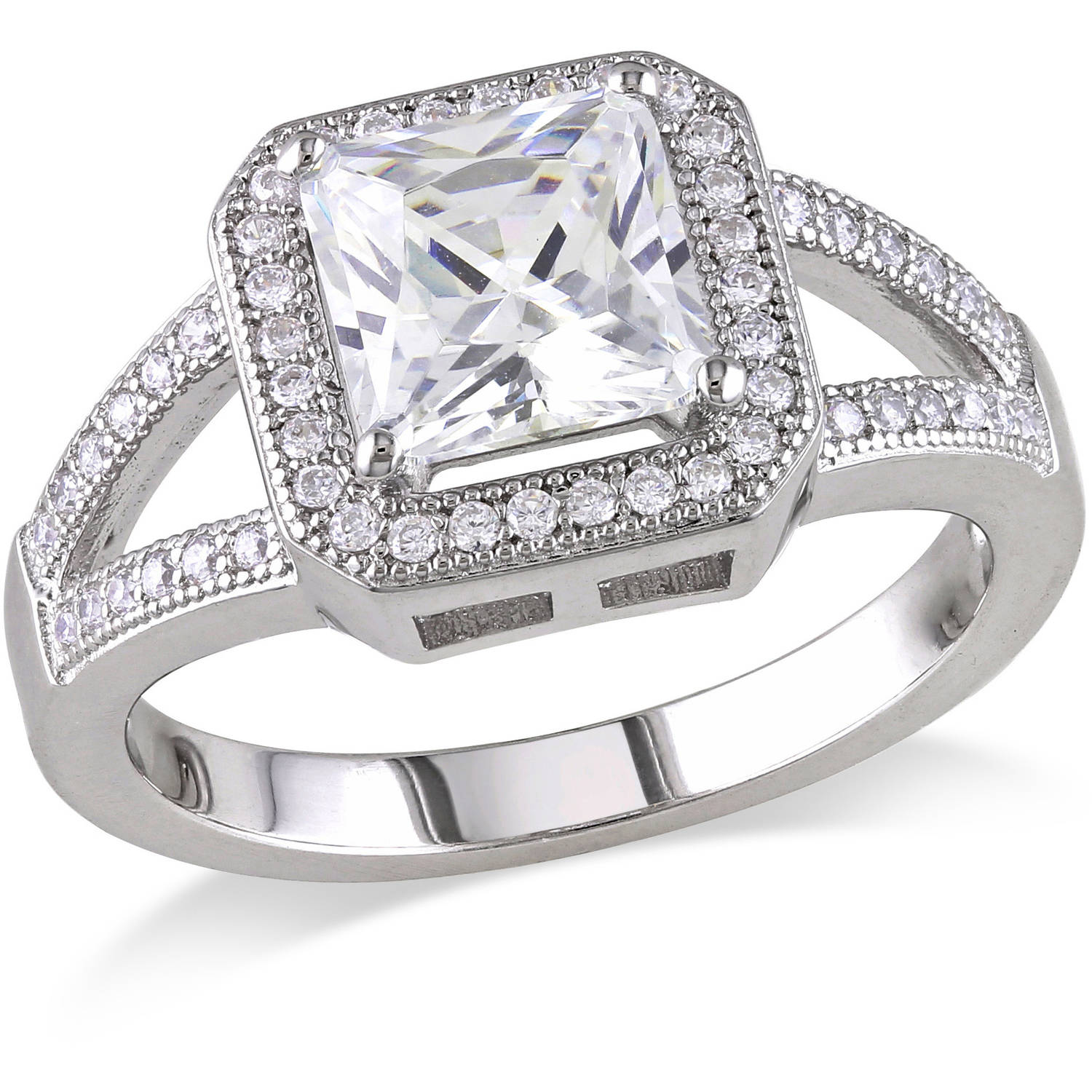 3-7/8 Carat T.G.W. Square- and Round-Cut CZ Sterling Silver Engagement Ring