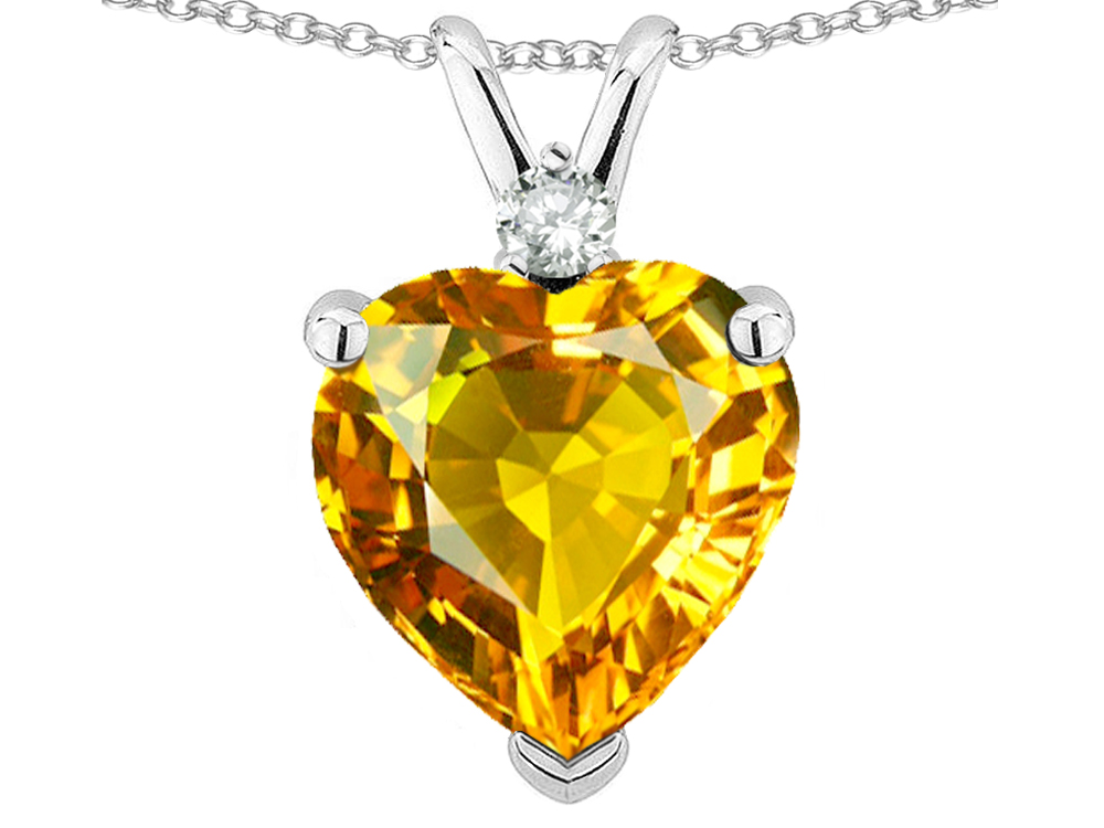 Star K Heart Shape 8mm Genuine Citrine Heart Pendant Necklace in 10 kt White Gold by