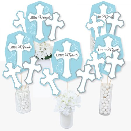 Little Miracle Boy Blue & Gray Cross - Baptism or Baby Shower Centerpiece Sticks - Table Toppers - Set of 15 - Cross Centerpieces
