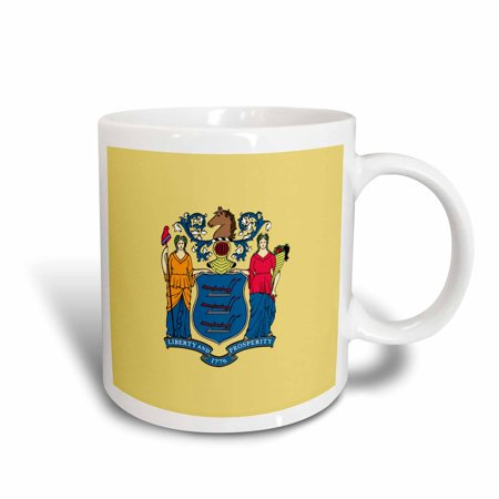 3dRose Flag of New Jersey - US American United State of America USA - Liberty Prosperity Coat of arms seal, Ceramic Mug, 15-ounce