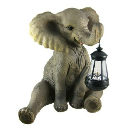 Things2Die4 Cute African Elephant Porch / Garden Statue W/ Lantern