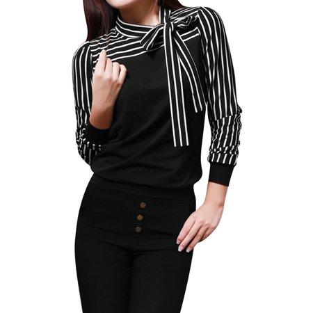 Allegra K Juniors Self Tie Bow Stand Collar Stripe Long Sleeve Shirt Black (Size M / 9)