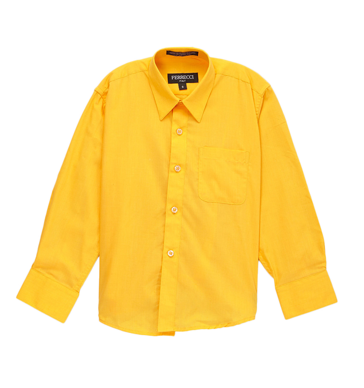 Premium Solid Cotton Blend Dark Yellow Dress Shirt~Dark Yellow / 7 ...
