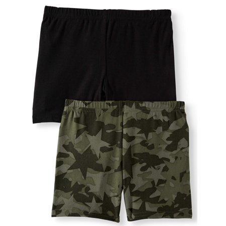 One Step Up Camo Printed and Solid Bike Shorts, 2-Pack (Little Girls)