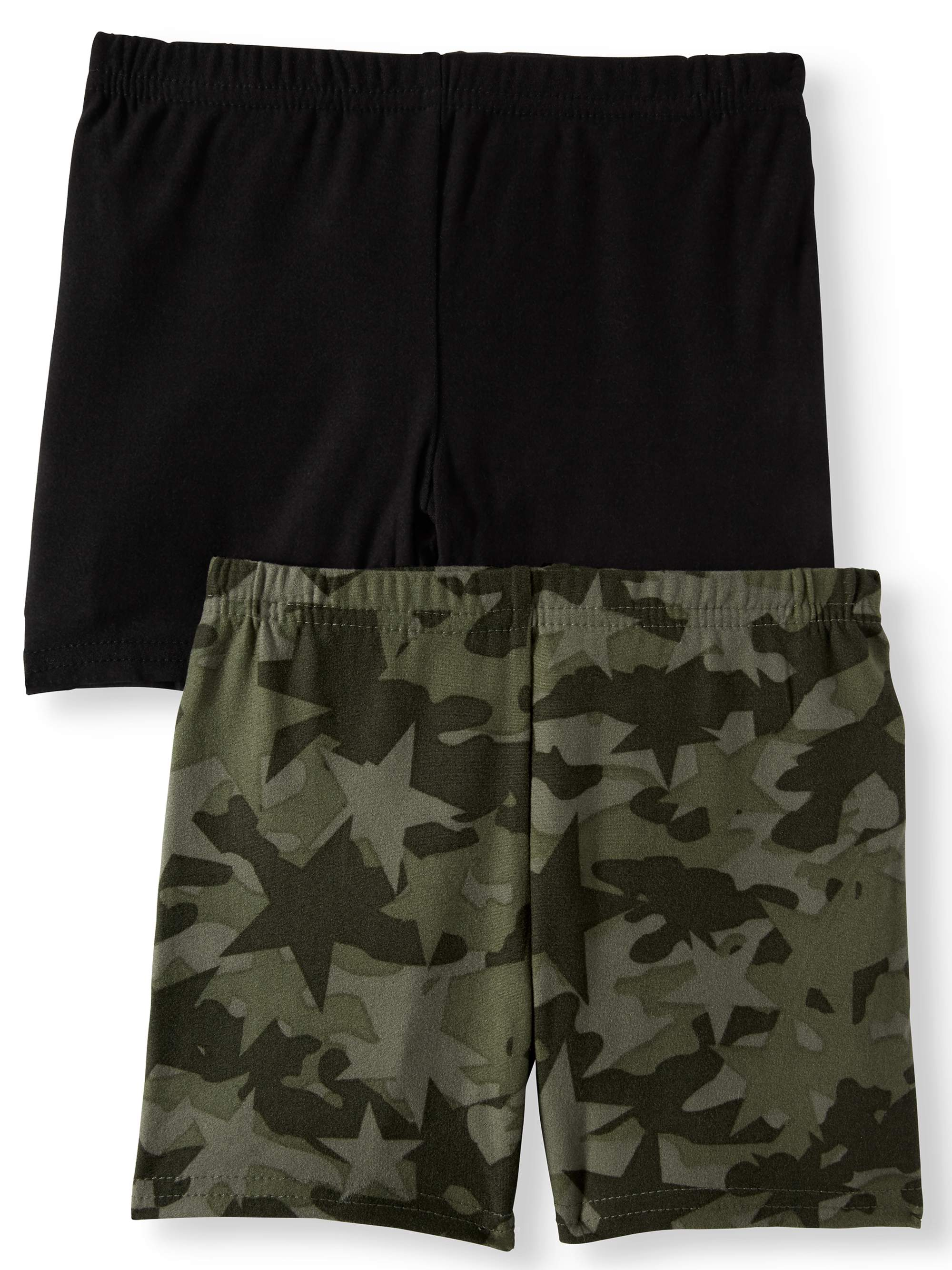 Camo Printed and Solid Bike Shorts, 2-Pack (Little Girls)